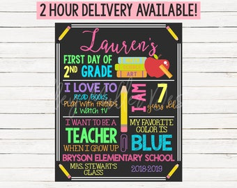 First Day of School Sign Chalkboard - 1st Day of School - Kindergarten - First Grade - Second Grade First Day Sign - Colorful Chalkboard #3