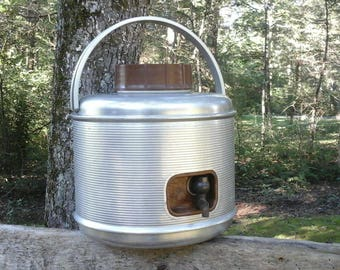 Vintage Water Cooler, Vintage Camping One Gallon Cooler,Glamping, Aluminum Water Jug, Old Metal Cooler, Photo Prop, Old Camping Gear, Silver