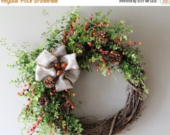 On Sale Fall Wreath, Thanksgiving Wreath, Autumn Wreath, Everyday Wreath, Front Door Wreath, Thanksgiving Decor, Harvest Wreath