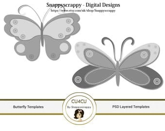 Butterfly Photoshop Layered Templates