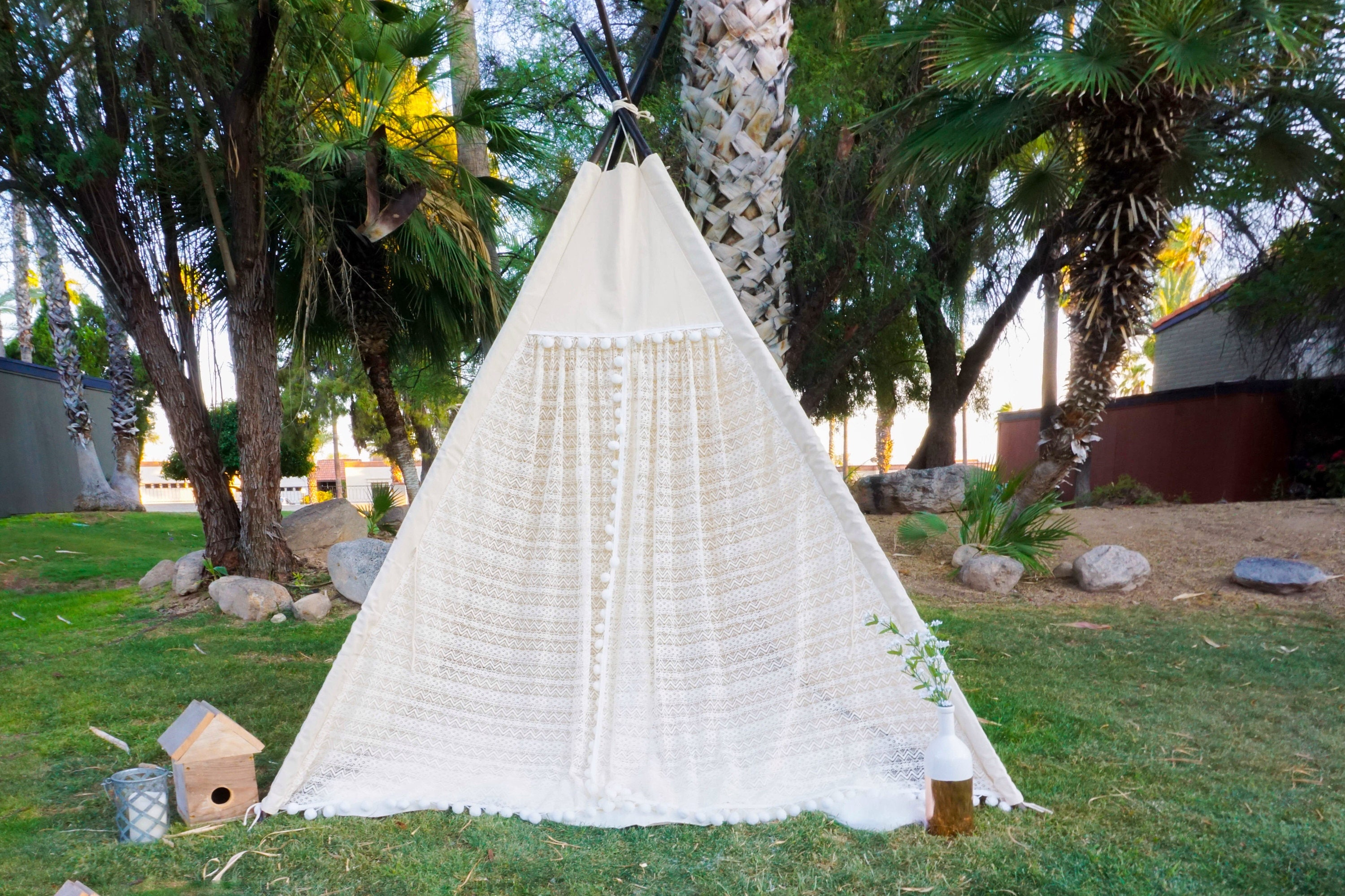 XL pocahontas lace teepee 8ft kids Teepee large tipi Play tent wigwam or playhouse with canvas and lace & XL pocahontas lace teepee 8ft kids Teepee large tipi Play tent ...