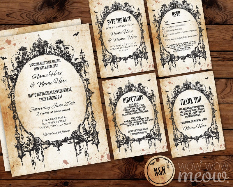 Wedding Invitations Gothic Frame Set Template Rustic Package