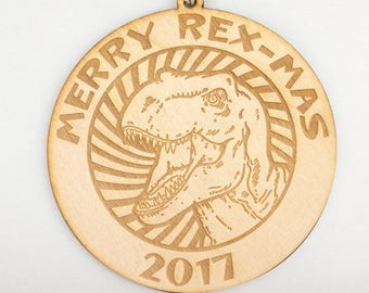 Merry Rex-Mas (T. rex) Christmas Ornament