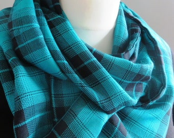 2 only! Supersoft plaid inifinity scarf in turquoise and black. Handmade in the UK and both ready to ship!
