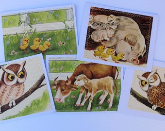 vintage animal card set, all occasion handmade vintage farm animal book illustration card set