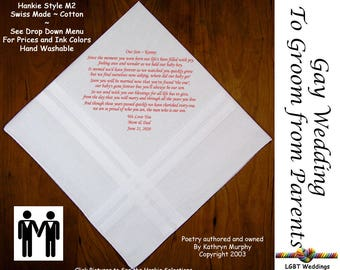 Gay Wedding ~ Groom Gift From Mom and Dad Wedding Hankie w/ Printed Poem G706  Sign and Date For Free! ~ 8 Ink Colors  LGBT Groom and Groom