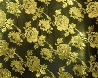 Black Metalllic Jaquard Brocade Gold Flower Print