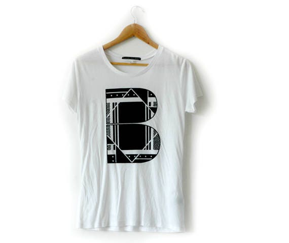 B Side Graphic B white tee