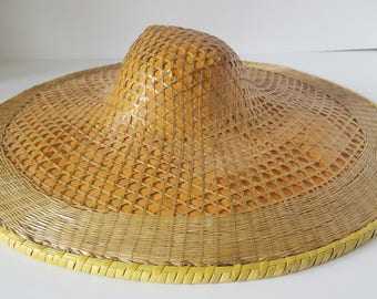 Large vintage coolie hat, woven straw hat, Asian hat, laquered straw, boho decor..