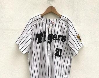 20% OFF Vintage Men's Hanshin Tigers #31 World Sports Goods Japanese Baseball Jersey Large Japan MLB Starter Baseball Shirt Baseball Tees