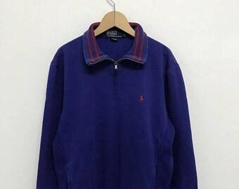 20% OFF Vintage Polo Ralph Lauren Small Pony Half Zipper Sweatshirt/Ralph Lauren Sweater/Polo Sport