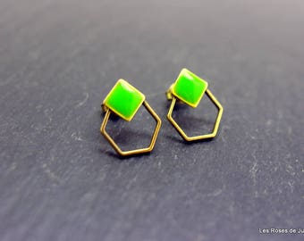 Bronze earrings, Hexagon earrings