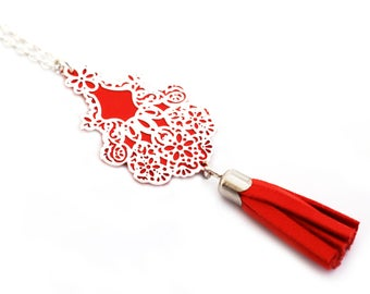 """""""empire"""" red vermilion plated silver necklace"""