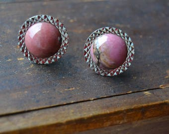 Pair of Soviet vintage cufflinks, Vintage cuff links, Rhodonite gemstone, Boutons de manchette,Antique metal cuff links, Rhodonite cufflinks