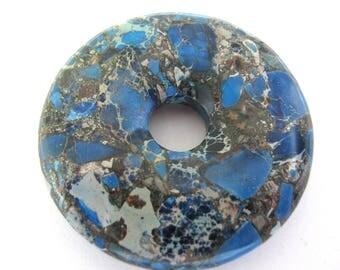 Pendant, Impression Jasper, donut bead, 50mm diameter, 10mm hole, blue, brown, gray, Aqua Terra Jasper  B-1858