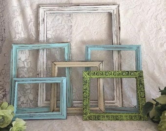 Farmhouse wall decor distressed frames Lot of 6 cream and sea kiss blue shabby chic hand painted Vintage
