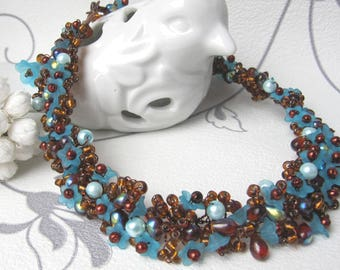 Turquoise necklace and chocolate beads glass flower Charlene 'Lace flowers'