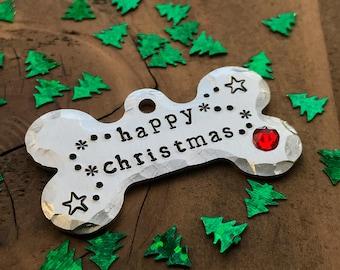 Happy Christmas Harry Potter Pet ID Tag, Dog Tag, Hand Stamped Pet Tag, Christmas Dog Tag