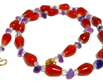 Large choker necklace; Phoenician style; purple, red, violet, orange, gold; natural gemstones carnelian, amethyst; Swarovski crystals;