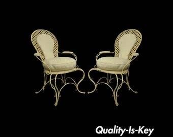 Pair Vintage Hollywood Regency Lattice Wrought Iron Patio Lounge Arm Chairs B