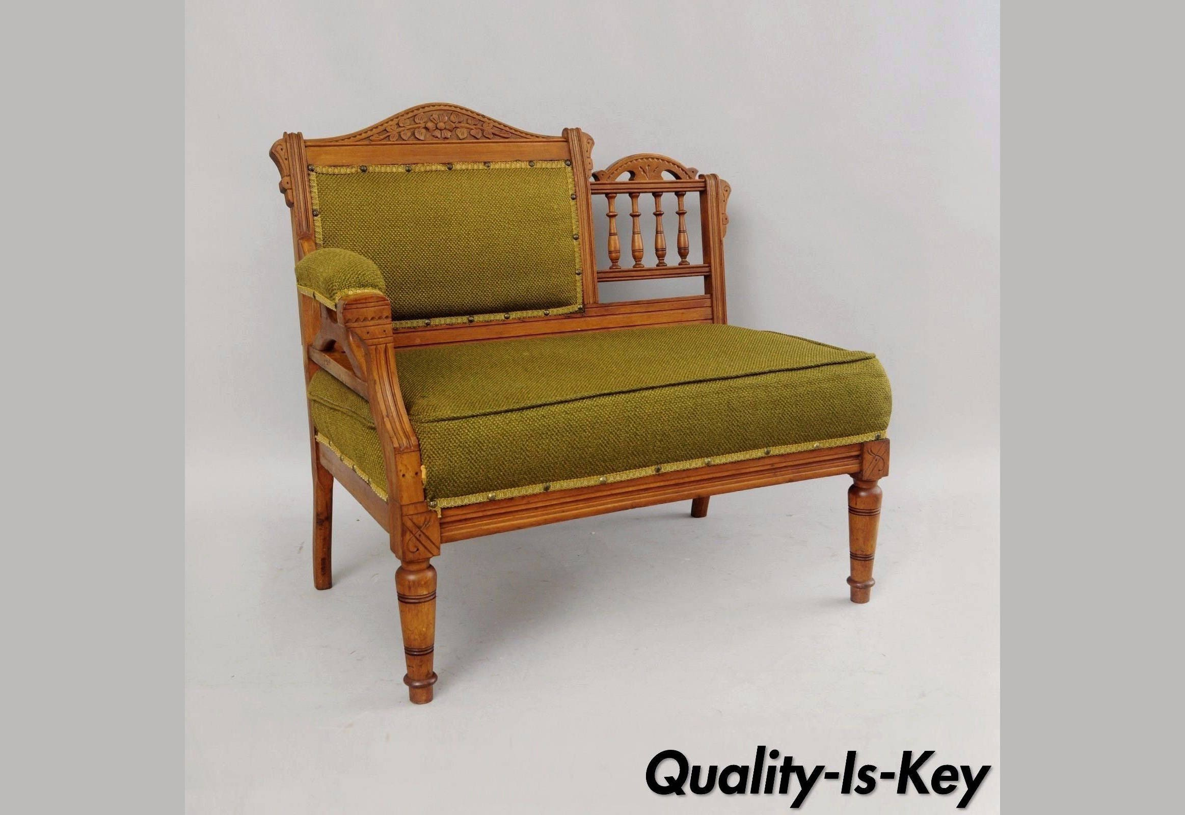 Antique victorian parlor chairs - Antique Eastlake Victorian Carved Walnut Gossip Bench Bustle Parlor Chair Settee
