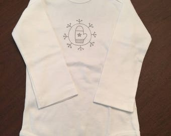 Snowflake Mitten Organic Cotton Baby Clothes Custom Screen Printed Onesie 3-6mo