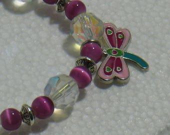 The Dragonfly charm bracelet pink