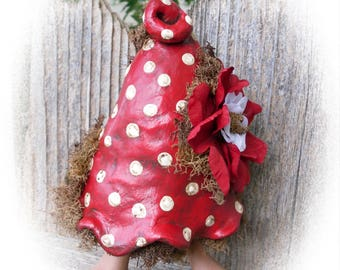 Christmas Willoite, Elf - Willow Hollow Series, One Of A Kind Art Doll, Polymer Clay, PaperClay, Hand Sculpted, OOAK Art Doll, Sculpture, BD