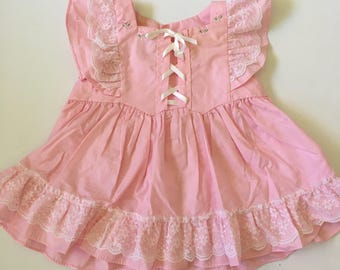 Vintage Mayfair Pink Lace Flutter Sleeve Pinafore Sz 12 months
