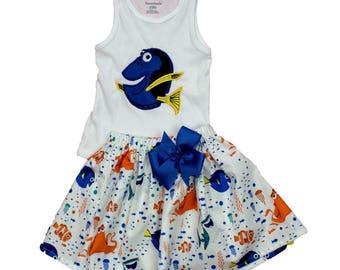 Girl Dory  birthday outfit, Nemo Dory dress toddler Dory  name applique outfit  Girl Dory outfit, Birthday Dory Nemo outfit. Girl  clothes