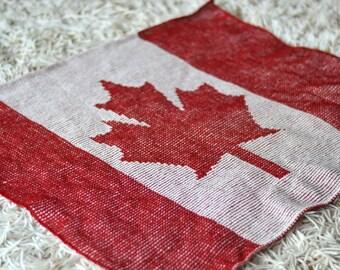 Knit Canada Flag Baby Blanket