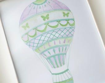 Butterfly Hot Air Balloon Art Print, hand painted art print, travel art