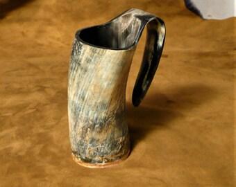 Horn mug, Viking style medieval beer tankard
