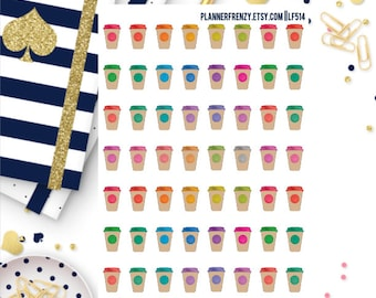 42 Watercolor Coffee Cup Planner Stickers! LF514