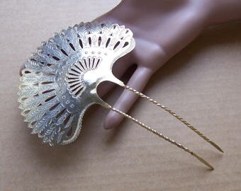 Late Victorian hair comb pieced metal Spanish style hair accessory headdress headpiece decorative comb hair ornament