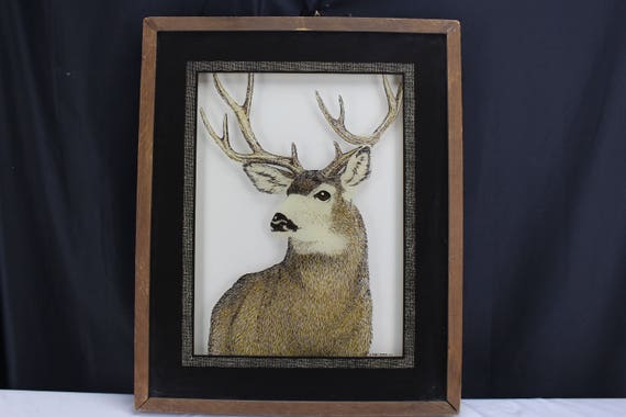 Tom Cryer Reverse Painted Glass Mule Deer Shadow Box Frame 1980 Wildlife Cabin Decor