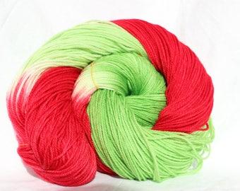 RTS Hand dyed yarn, Red / green yarn, Christmas yarn, variegated yarn, worsted weight yarn, superwash wool 100g
