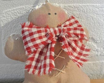 "Christmas ornament ""Gingerbread"" light brown cotton and gingham bow"