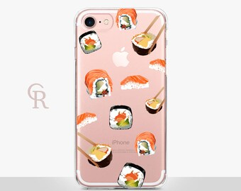 Sushi Clear iPhone 8 Case - Clear Case - For iPhone 8 - iPhone X - iPhone 7 Plus - iPhone 6 - iPhone 6S - iPhone SE Transparent