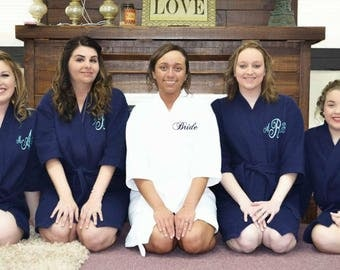 Wedding Bridal Party Robes set of 7, Bridesmaid gift, Personalized Monogrammed Robe,