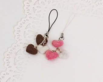 Felted Heart Charms