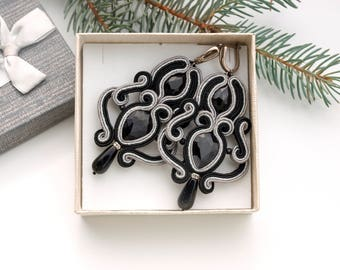 Crystal earrings, black silver earrings, soutache earrings, black long earrings, evening earrings, elegant earrings, statement earrings
