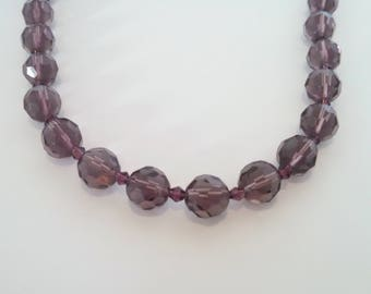 Vintage Necklace, Large Aubergine Eggplant Purple Glass Beads, Adjustable, Spring Clasp, Mid Century Style, Circa 1970s, Includes Gift Box