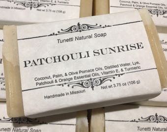 Patchouli Sunrise Natural Homemade Soap, Handmade soap, Natural Soap, Cold Process Lye Soap