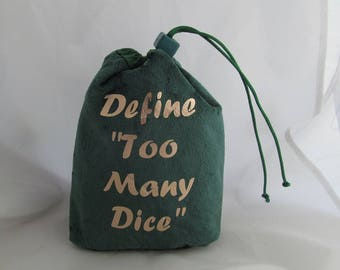 Dice Bag Pouch Velvet Dungeons and Dragons D&D RPG Role Playing Die Green Define Too Many Dice Reversible Lined