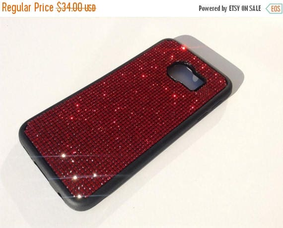 Sale Galaxy S6 Edge Red Siam Diamond Crystals on Black Rubber Case. Velvet/Silk Pouch Bag Included, Genuine Rangsee Crystal Cases.