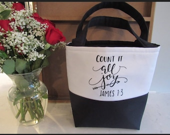 Bible Tote Bag - School Bag - Gifts for Women - Teacher Gifts - Count it all Joy Tote Bag - Bible Bag - James 1:3 - Custom Tote Bag
