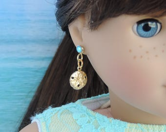 Gold Sand Dollar Earrings for American Girl Dolls and other 18 inch dolls