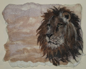 Vigilance, felted picture of a lion