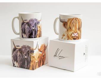 Highland Cow Mug, Highland Cow Gift, Scottish Mug, Scottish Art, Highland Coo, Cow Mug